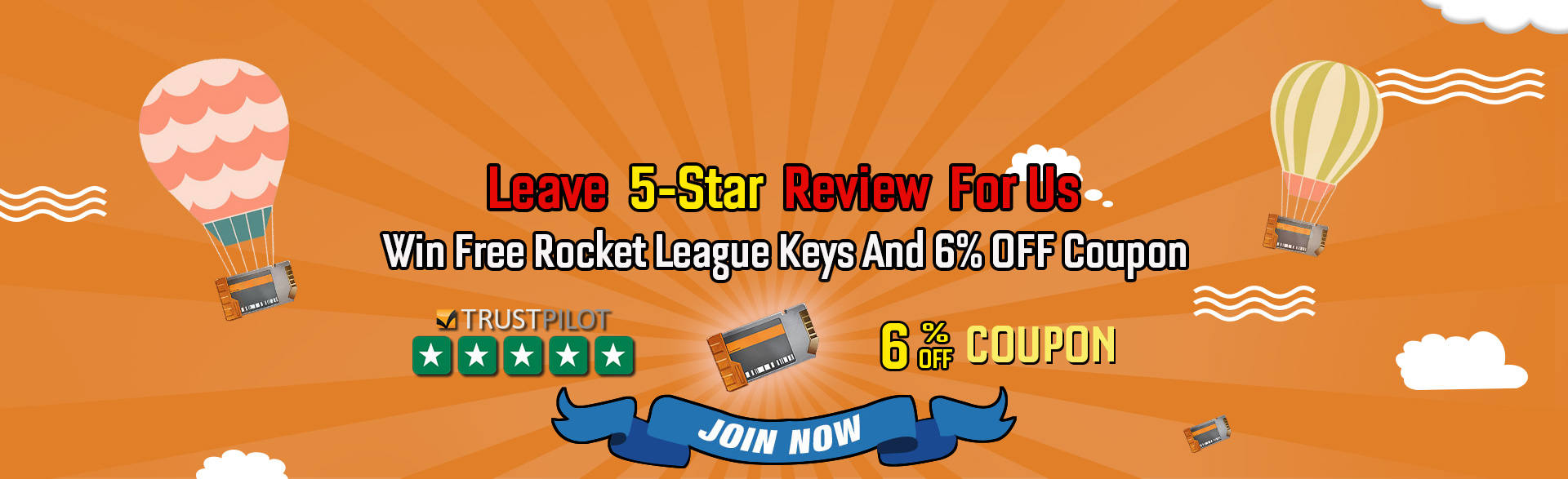 Leave 5-Star Reviews For Us To Get Free Rocket League Keys and 6% Off Coupon For Rocket League Items