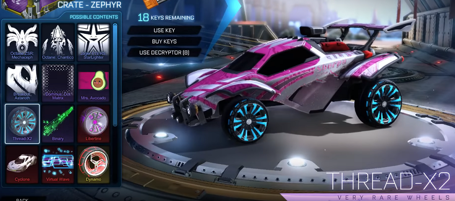 Rocket League Zephyr Crate Items - Very Rare Wheels Thread-X2