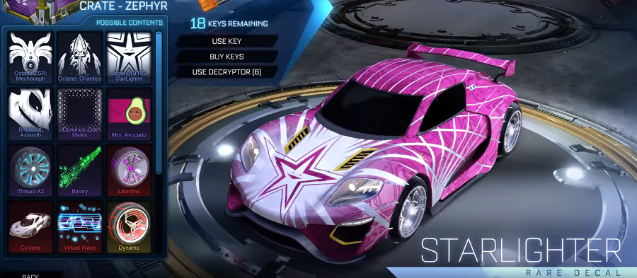 Rocket League Zephyr Crate Items - Rare Decal Jager 619 RS Starlighter