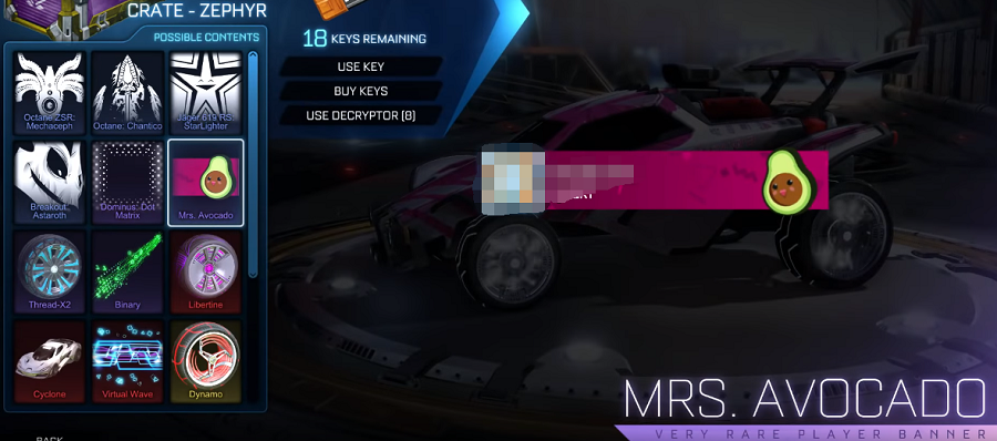 Rocket League Zephyr Crate Items - Very Rare Banner Mrs. Avocado