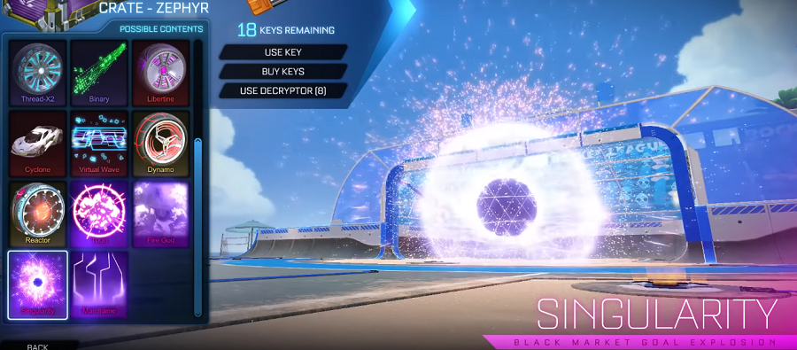 Rocket League Zephyr Crate Items - Goal Explosion Singularity