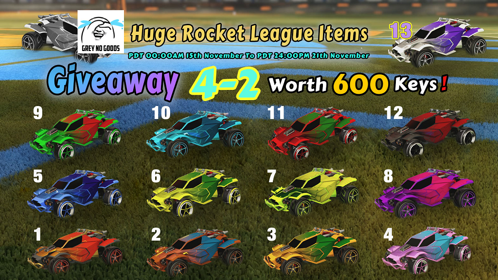 huge weekly giveaway 4-2, worth 600 keys - 13 painted rocket league black market mainframe decals